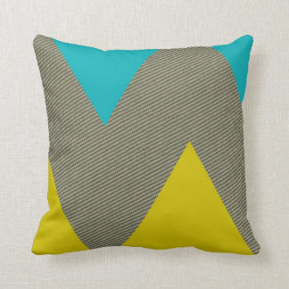Modern Teal, Yellow and Tweed Throw Pillow