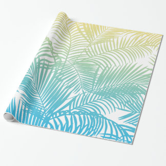 Modern teal yellow tropical palm trees pattern