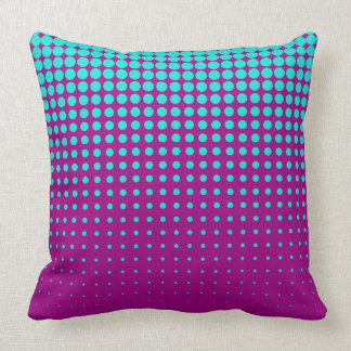 Modern techno shrinking polka dots opal  fuchsia cushion