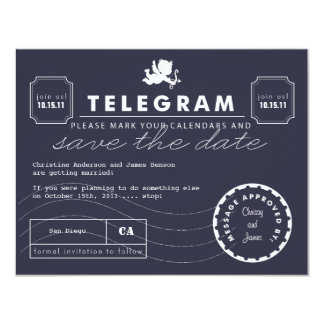 Modern Telegram Card Save the Date - Navy