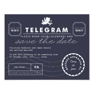 Modern Telegram Card Save the Date - Navy 11 Cm X 14 Cm Invitation Card