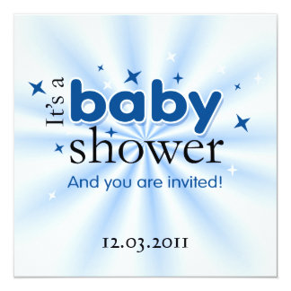 Modern Text Blue Stars Funny Baby Shower Party 13 Cm X 13 Cm Square Invitation Card