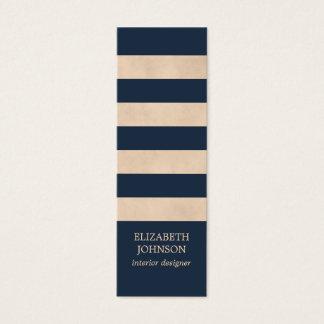 Modern Texture Beige Blue Striped InteriorDesigner Mini Business Card