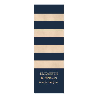 Modern Texture Beige Blue Striped InteriorDesigner Pack Of Skinny Business Cards