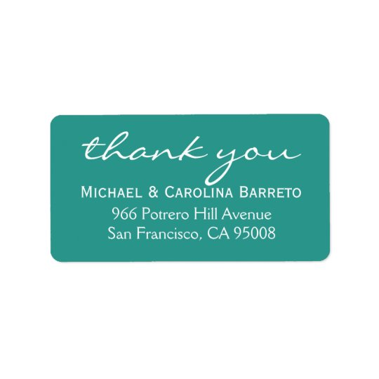 Modern Thank You Labels - Teal