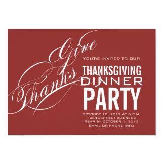 MODERN THANKSGIVING DINNER INVITATION RED