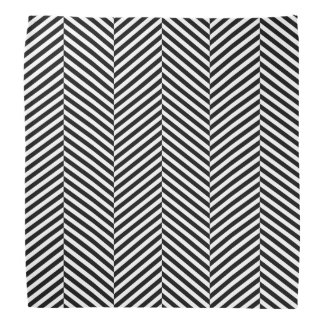 Modern Thin Black White Chevron Stripes Pattern Bandana