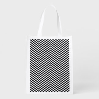 Modern Thin Black White Chevron Stripes Pattern Reusable Grocery Bag