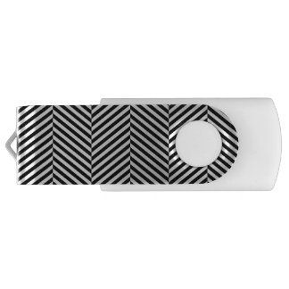 Modern Thin Black White Chevron Stripes Pattern USB Flash Drive