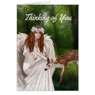 Modern Thinking of You Card with Angel