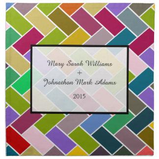 Modern Tile Colorful Mosaic Wedding Keepsake Printed Napkins