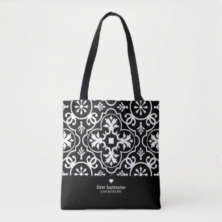 Modern Tile Pattern with Upscale Heart Monogram Tote Bag