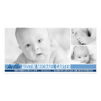 Modern Tones Baby Boy Birth Announcement Personalised Photo Card