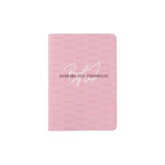 modern travel monogrammed pink passport holder