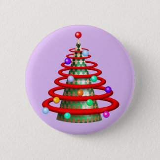 MODERN TREE CHRISTMAS  SMALL BUTTON 2¼ Inch