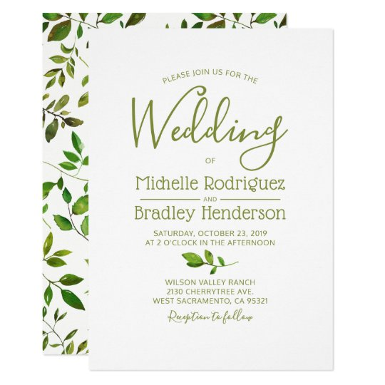 Modern Tree Greenery Watercolor Foliage Wedding Card
