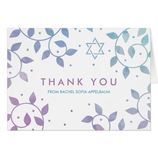Modern Tree of Life Bat Mitzvah Thank You Card