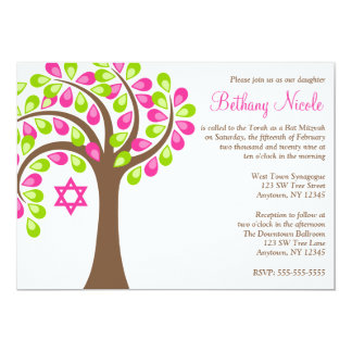Modern Tree of Life Pink Green Bat Mitzvah 13 Cm X 18 Cm Invitation Card