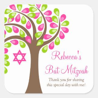 Modern Tree of Life Pink Green Bat Mitzvah Sticker