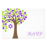 Modern Tree of Life Purple Green Bat Mitzvah RSVP Personalized Invitation