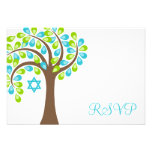 Modern Tree of Life Teal Green Bat Mitzvah RSVP Personalised Announcement
