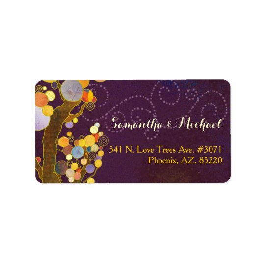 Modern Trees Purple Wedding Address Label