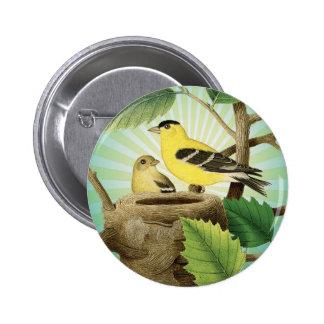 modern trend birds and nest pinback buttons