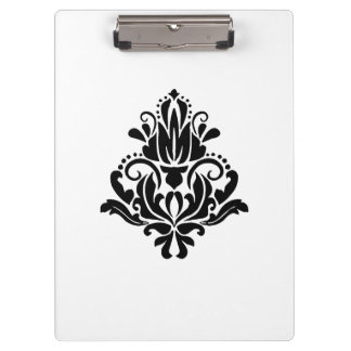 MODERN TREND BLACK AND WHITE DAMASK CLIPBOARD