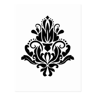 MODERN TREND BLACK AND WHITE DAMASK POSTCARD