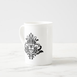 MODERN TREND BLACK AND WHITE DAMASK TEA CUP