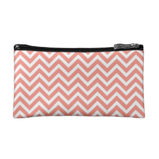 modern trend coral chevron cosmetic bags