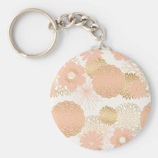 modern trends blush flower blooms basic round button key ring
