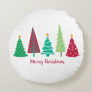 Modern trends Christmas Trees Round Cushion