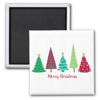 Modern trends Christmas Trees Square Magnet