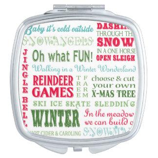 Modern trends Christmas typography Makeup Mirror