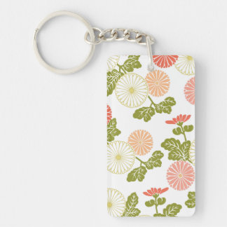 modern trends coral floral Double-Sided rectangular acrylic key ring