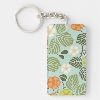 modern trends seafoam floral Double-Sided rectangular acrylic key ring