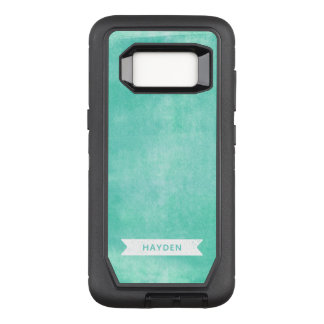 Modern Trendy Aqua Turquoise Rolled Ink OtterBox Defender Samsung Galaxy S8 Case