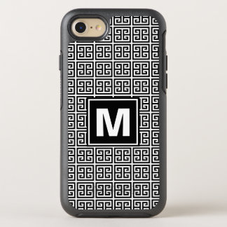 Modern, Trendy Black and White Greek Key Monogram OtterBox Symmetry iPhone 8/7 Case