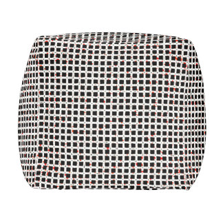Modern Trendy Black White Red Abstract Pattern Pouf
