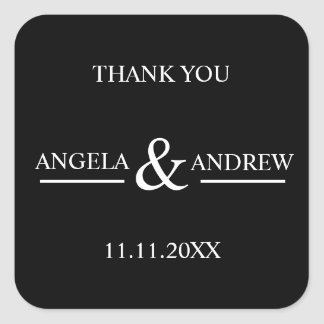 Modern Trendy Black & White Wedding Square Sticker