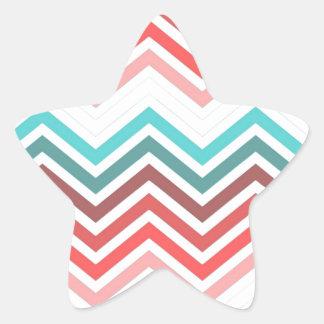 Modern, trendy, colorful chevron zigzag star sticker