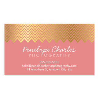 MODERN trendy cool gold foil chevron pattern coral Pack Of Standard Business Cards