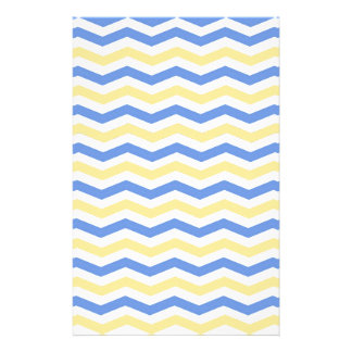 Modern, trendy, elegant blue and yellow chevron stationery