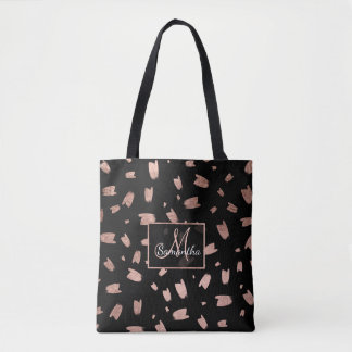 Modern trendy faux rose gold brushstrokes monogram tote bag