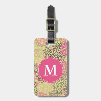 Modern Trendy Floral Pattern Monogram Luggage Tag