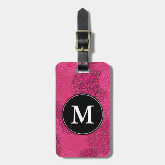 Modern Trendy Floral Pattern Monogram Luggage Tag