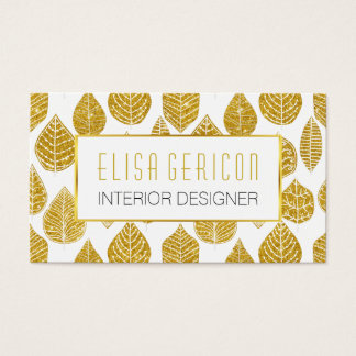 Modern, trendy gold glitter broad leaves pattern business card
