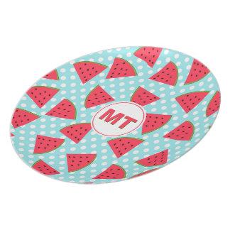 Modern Trendy Graphic Watermelon Fruit Pattern Plate