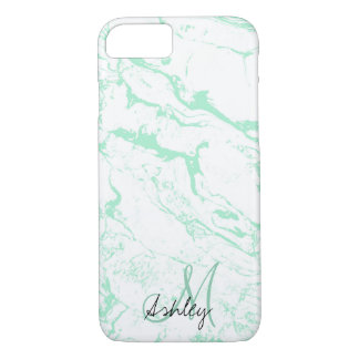 Modern trendy mint green white marble monogram iPhone 8/7 case